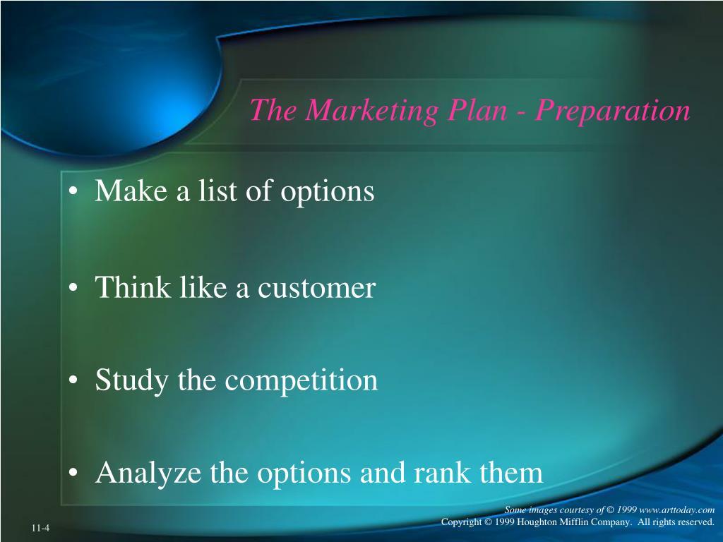 The Marketing Plan - Preparation