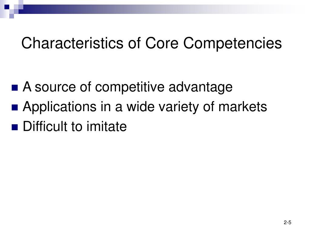 Characteristics of Core Competencies