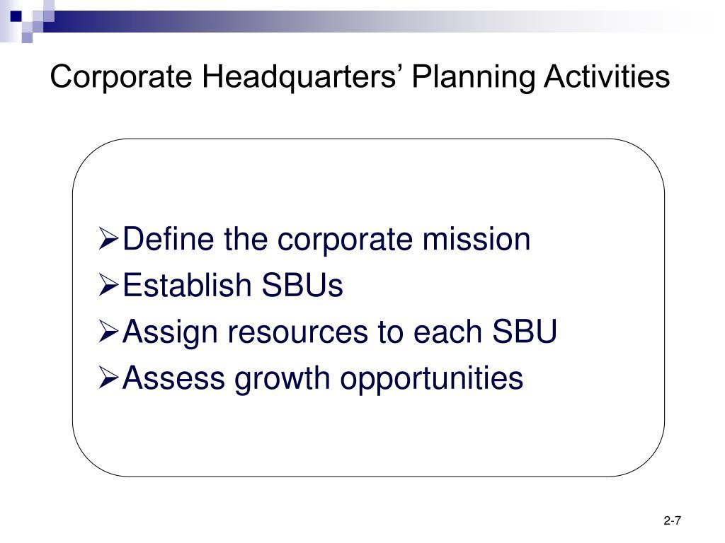 Corporate Headquarters' Planning Activities