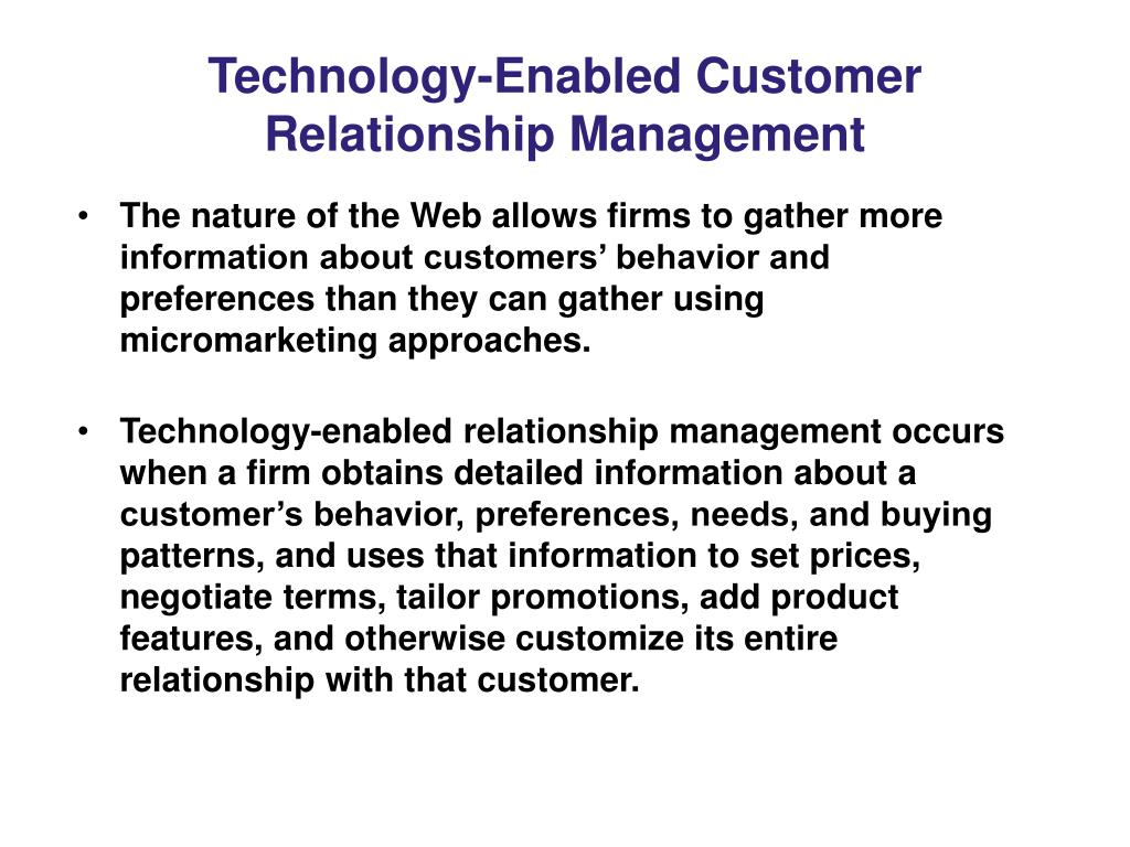 Technology-Enabled Customer Relationship Management
