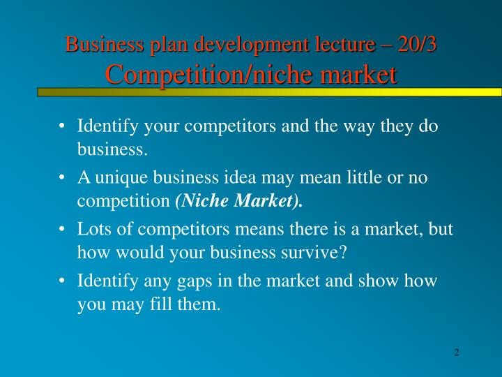 Business plan development lecture 20 3 competition niche market