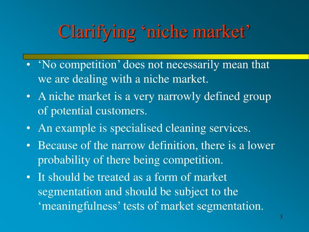 Clarifying 'niche market'
