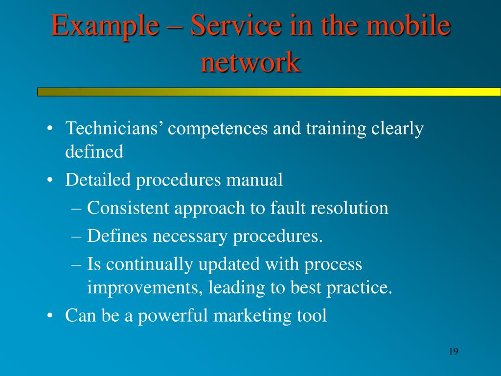 Example – Service in the mobile network