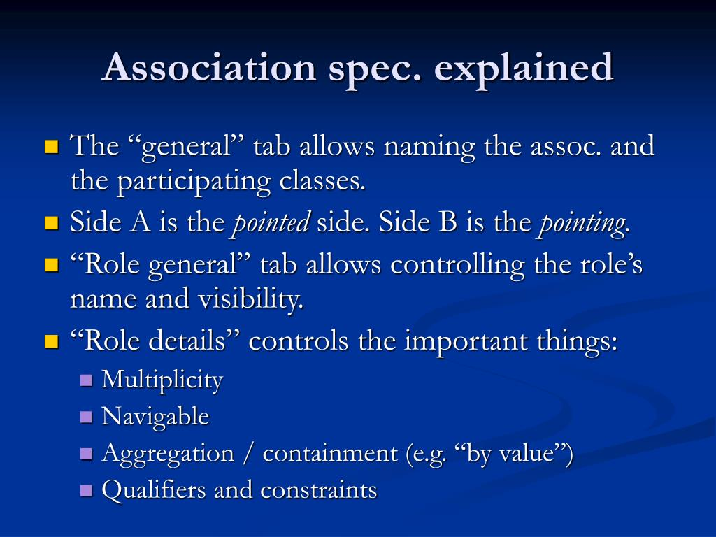 Association spec. explained