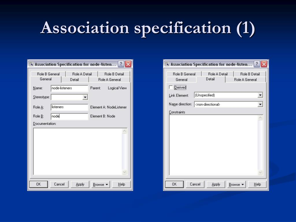 Association specification (1)