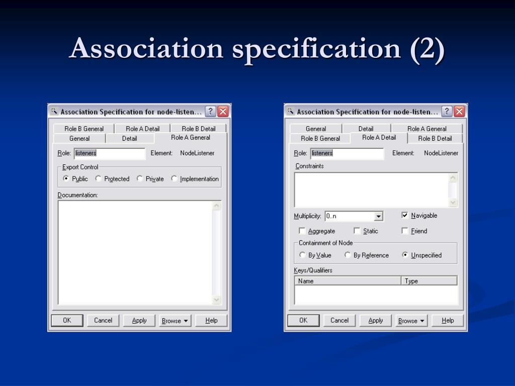 Association specification (2)