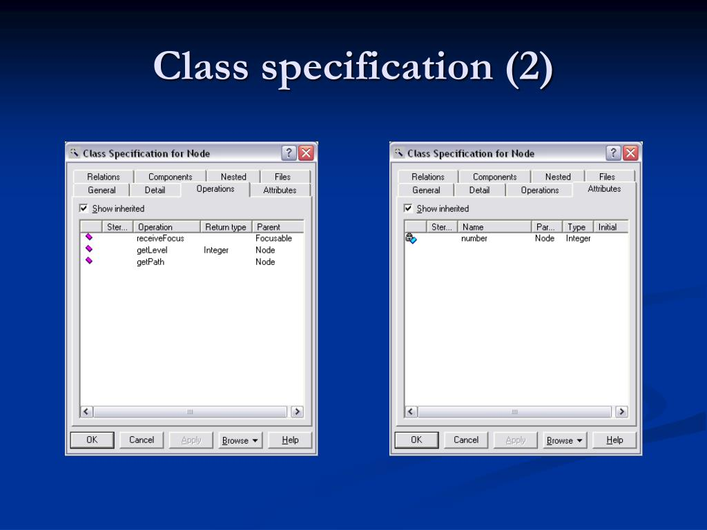 Class specification (2)