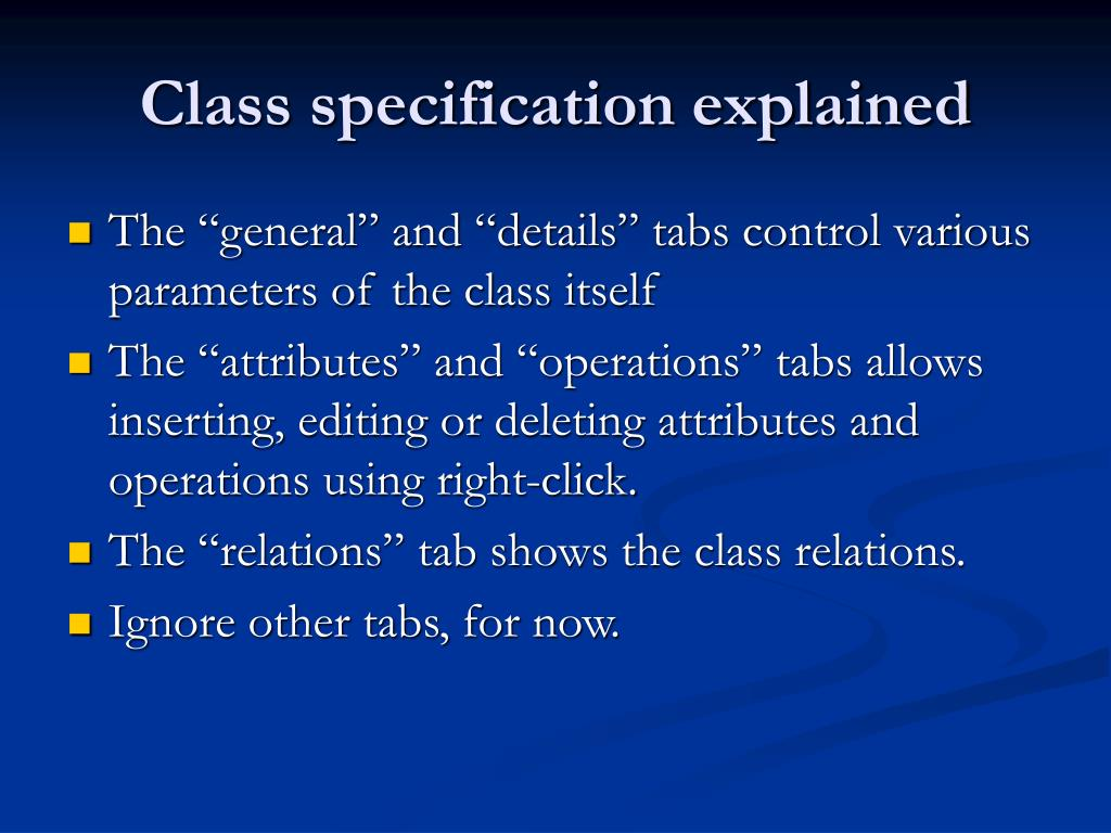 Class specification explained