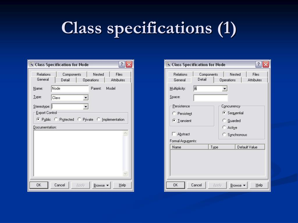 Class specifications (1)