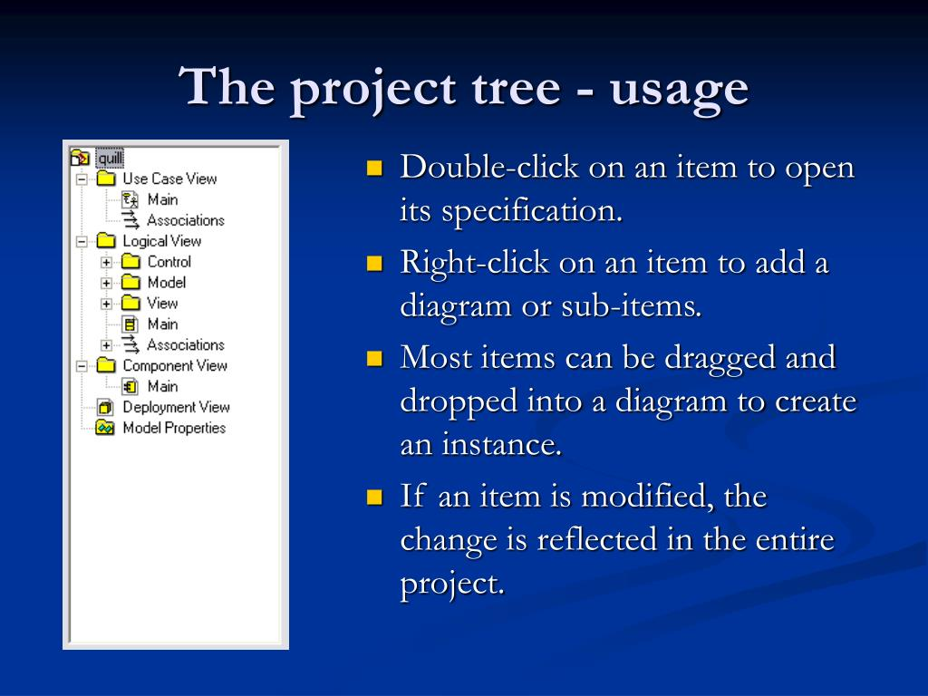 The project tree - usage