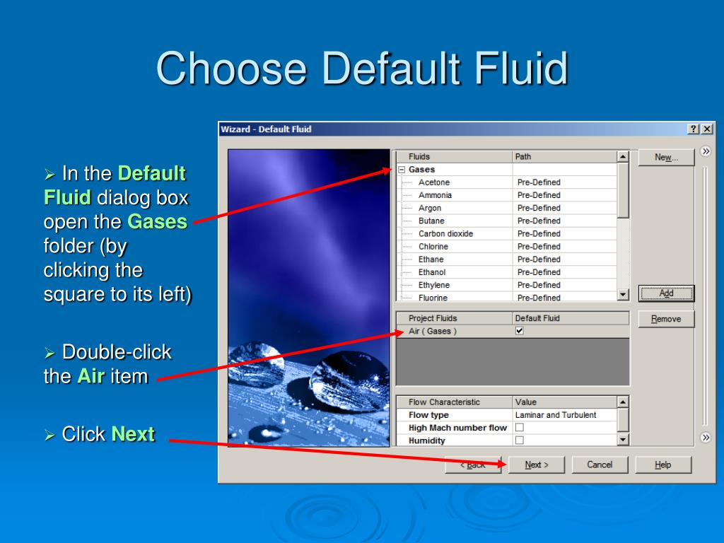Choose Default Fluid