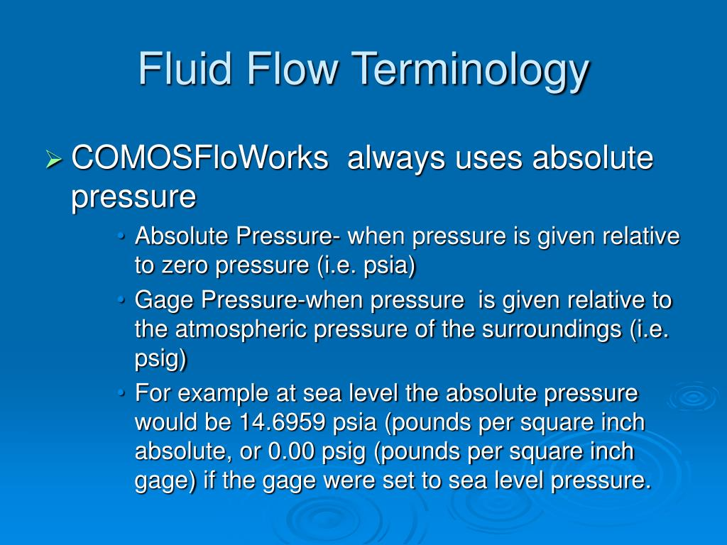 Fluid Flow Terminology