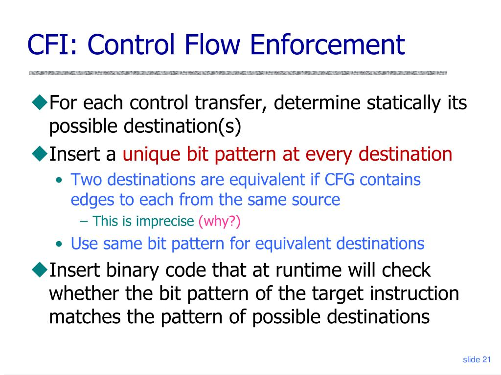 CFI: Control Flow Enforcement