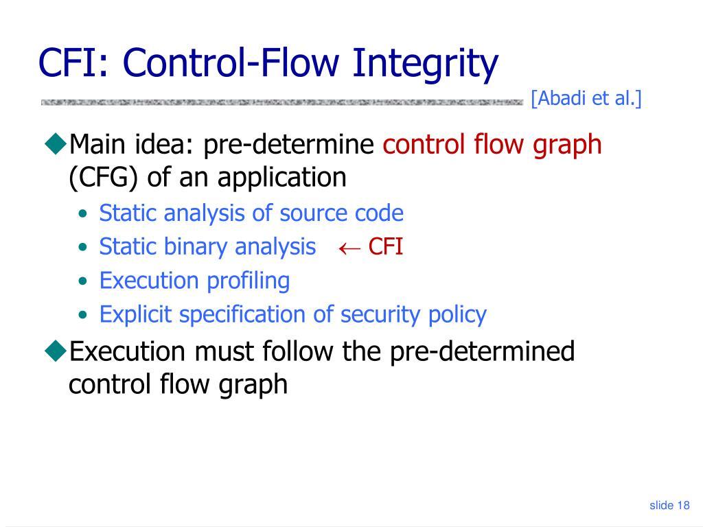 CFI: Control-Flow Integrity
