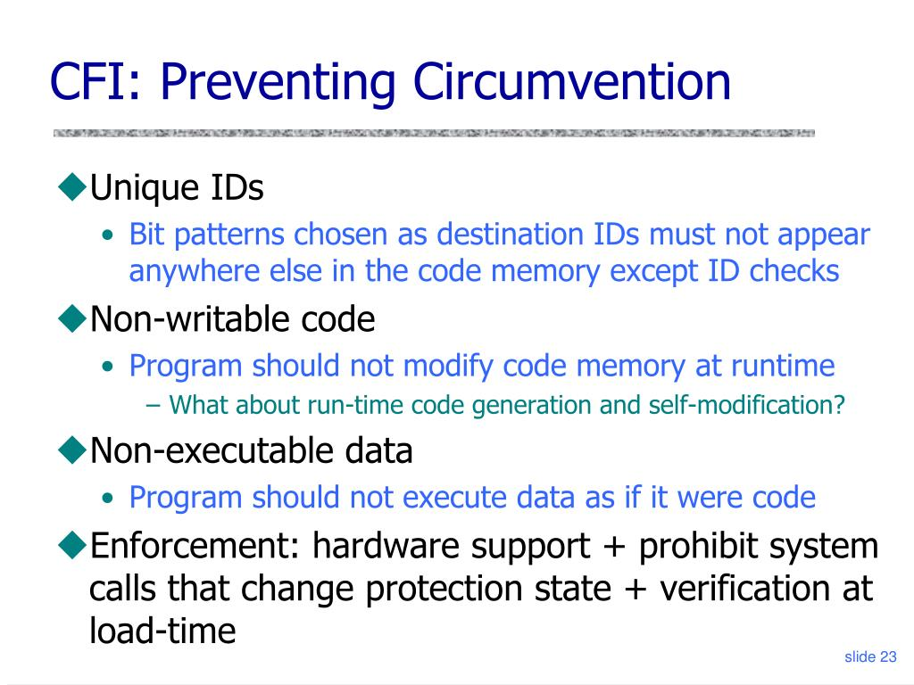 CFI: Preventing Circumvention