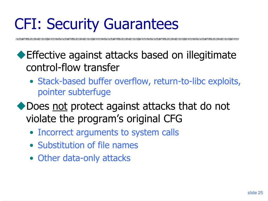 CFI: Security Guarantees