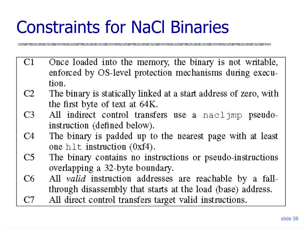 Constraints for NaCl Binaries