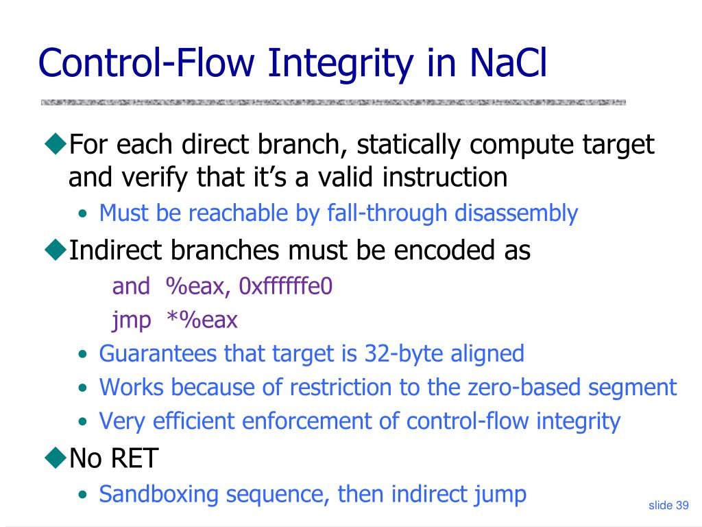 Control-Flow Integrity in NaCl