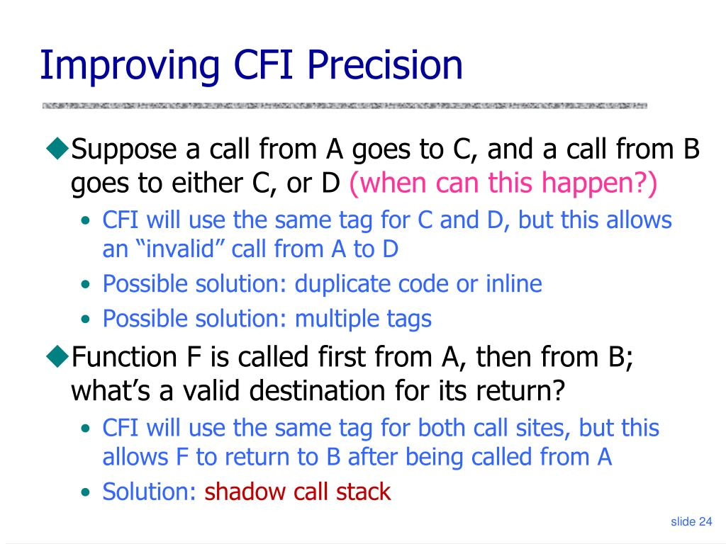 Improving CFI Precision