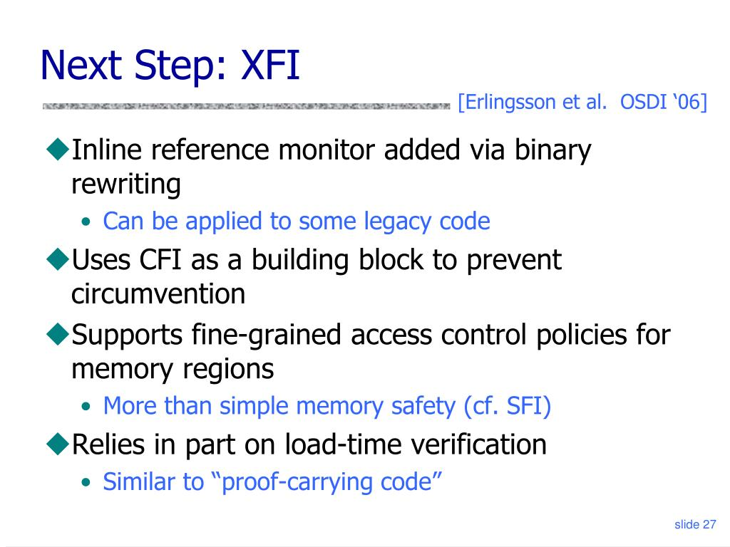 Next Step: XFI