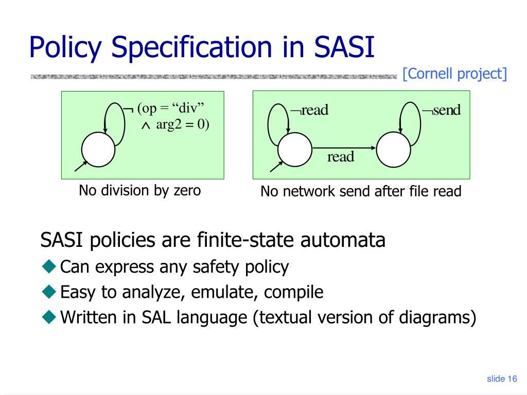 Policy Specification in SASI