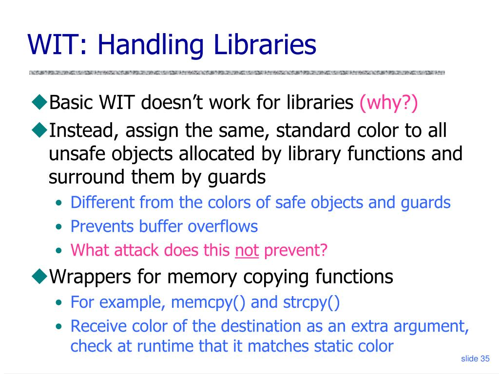 WIT: Handling Libraries