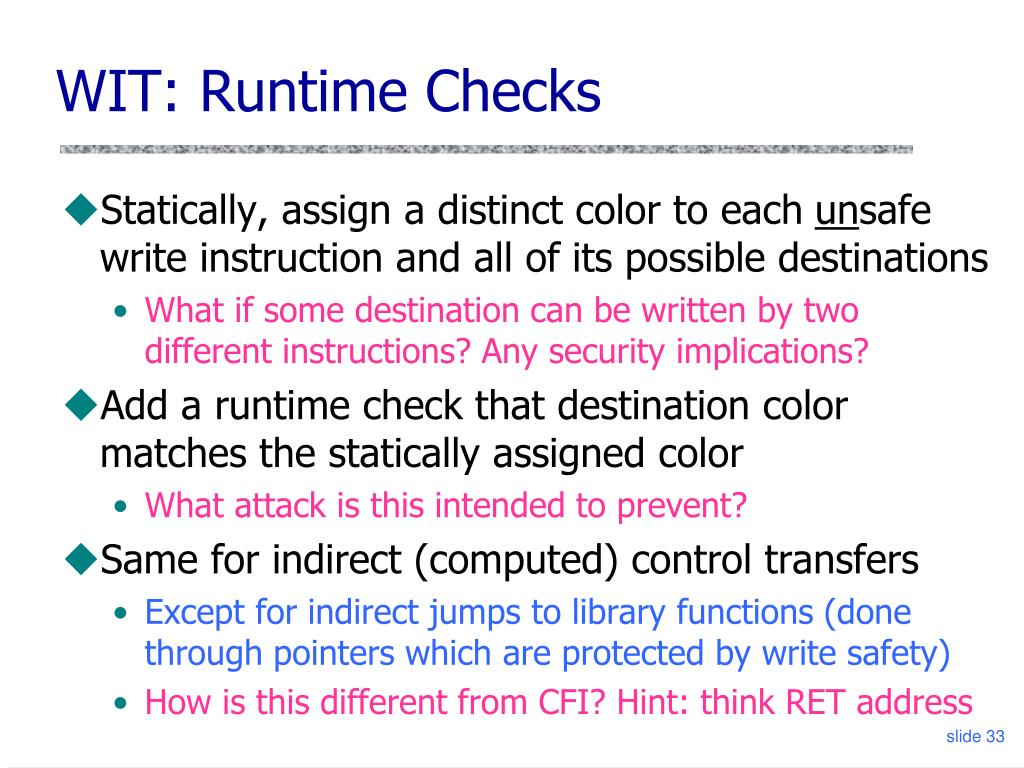 WIT: Runtime Checks