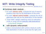 wit write integrity testing