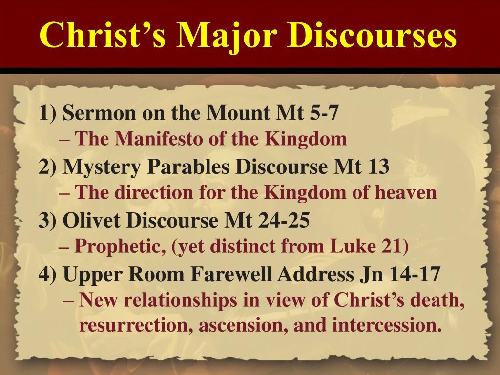 Christ's Major Discourses