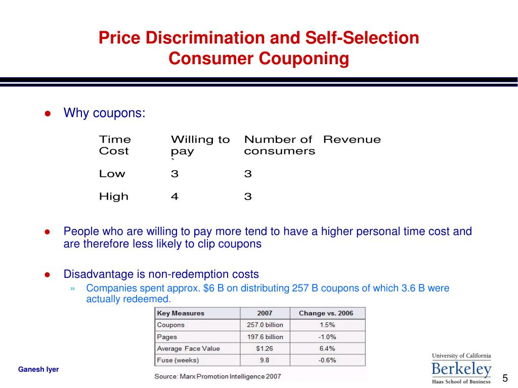 Price Discrimination and Self-Selection