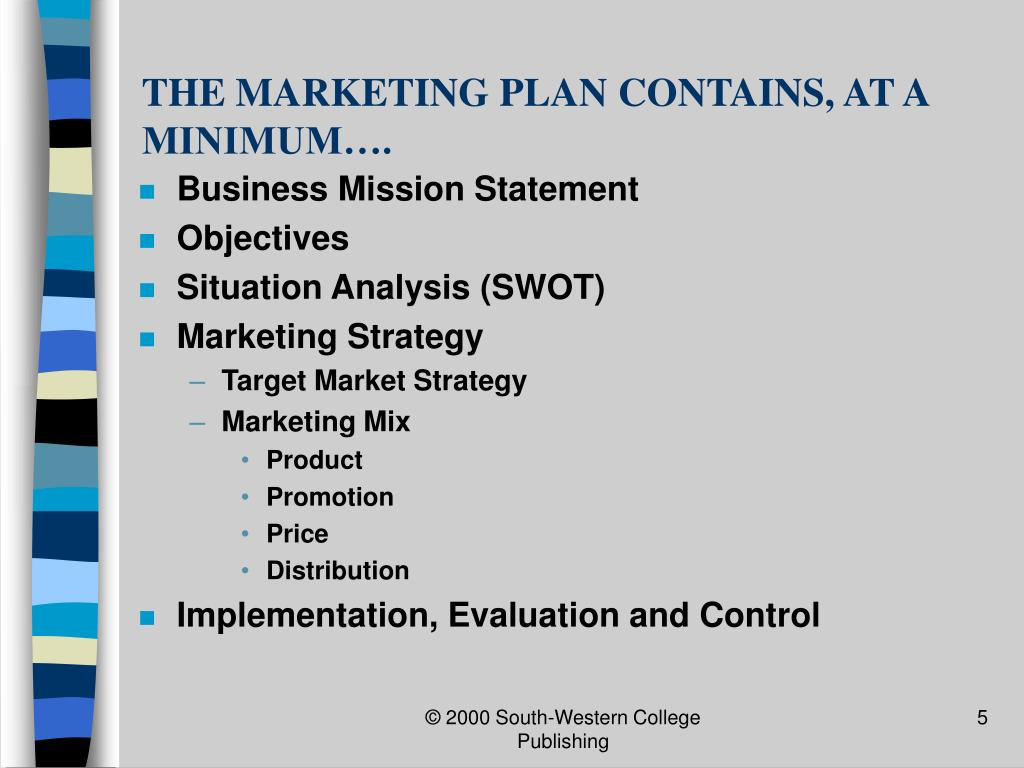THE MARKETING PLAN CONTAINS, AT A MINIMUM….
