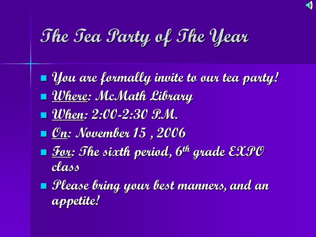 The Tea Party of The Year