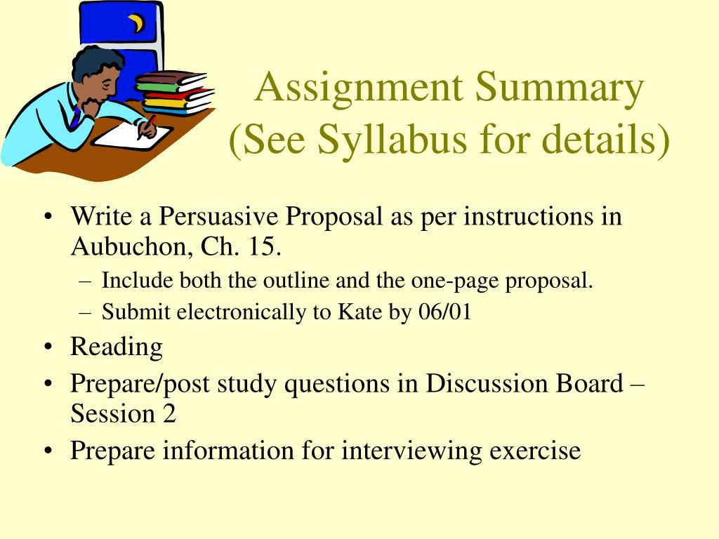 Assignment Summary