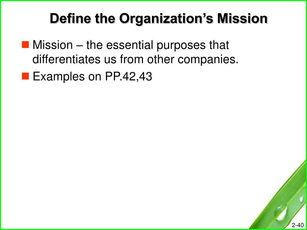 Define the Organization's Mission