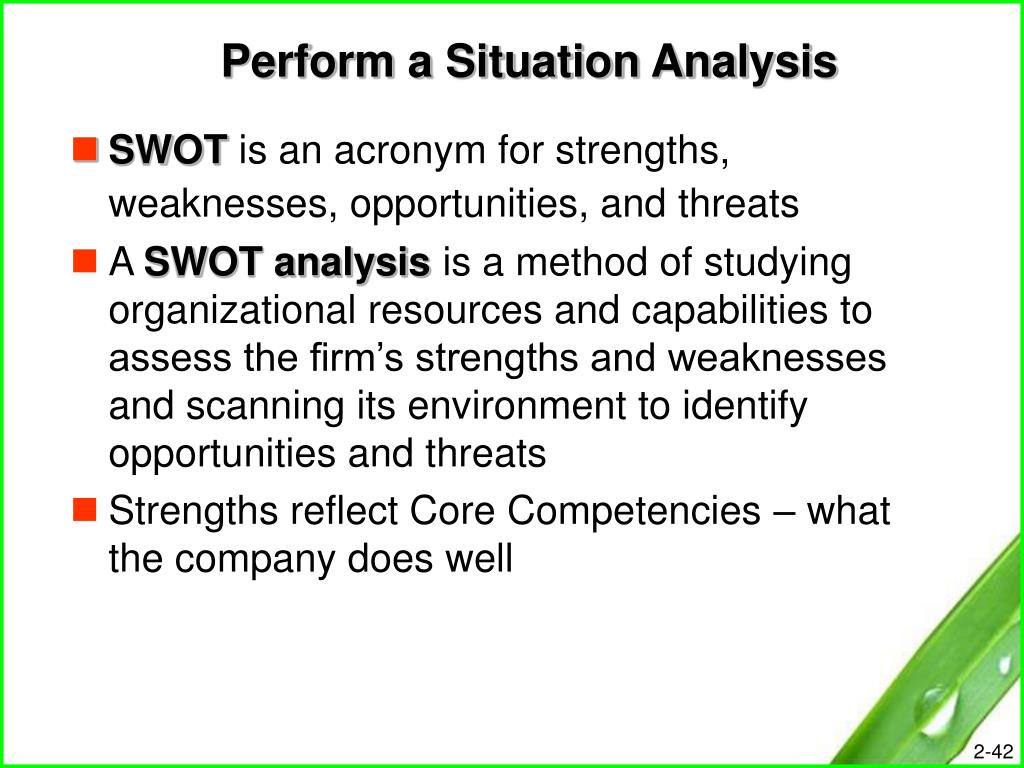 Perform a Situation Analysis