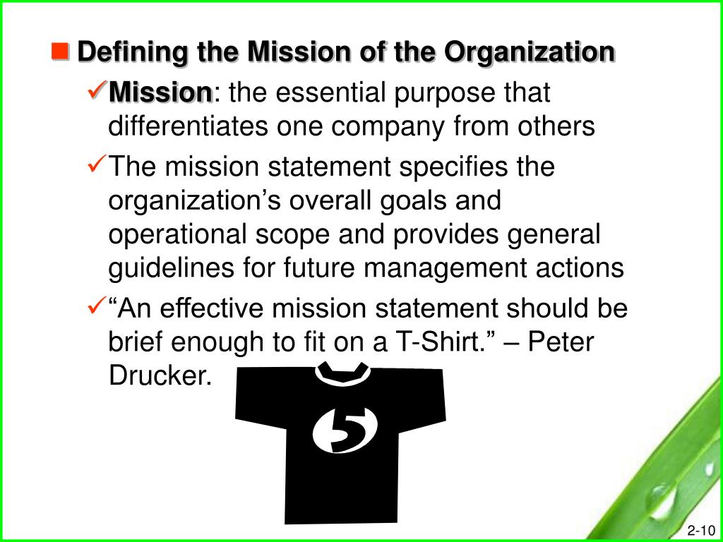 Defining the Mission of the Organization