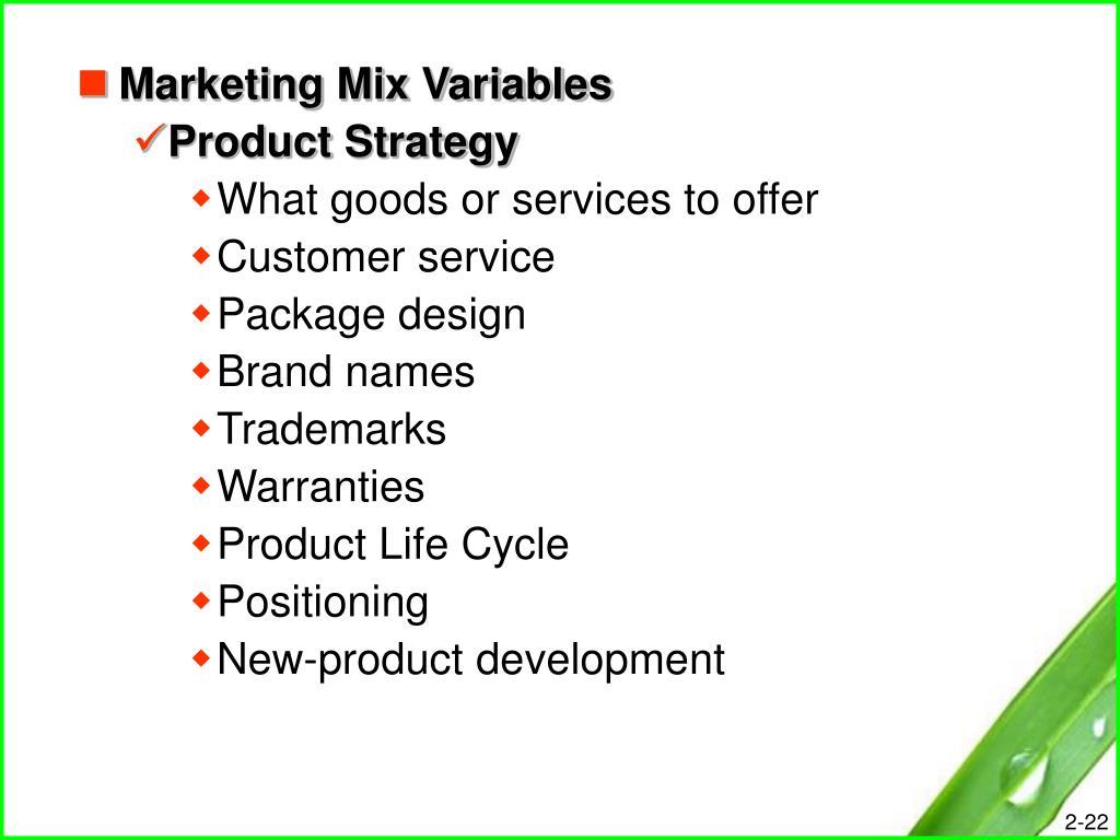 Marketing Mix Variables