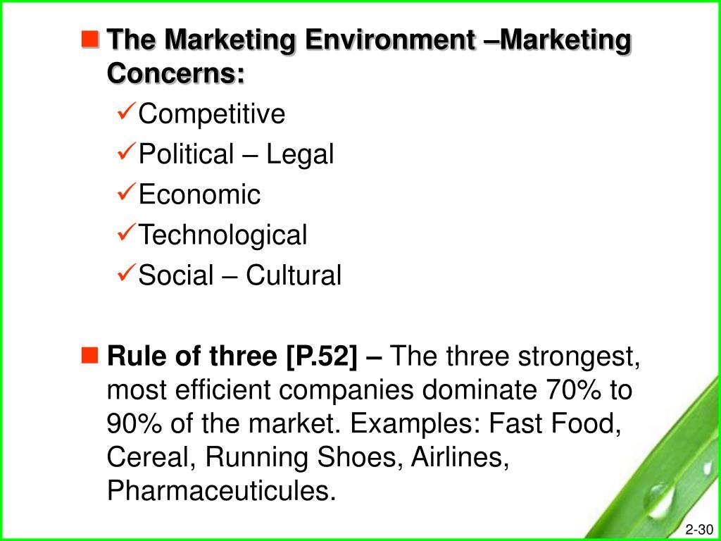 The Marketing Environment –Marketing Concerns: