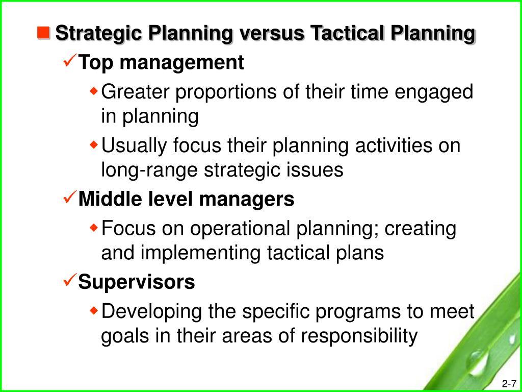Strategic Planning versus Tactical Planning