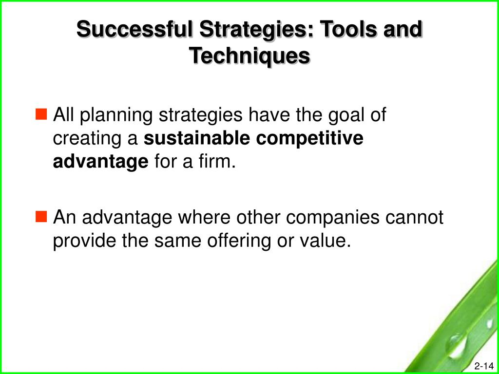 Successful Strategies: Tools and Techniques