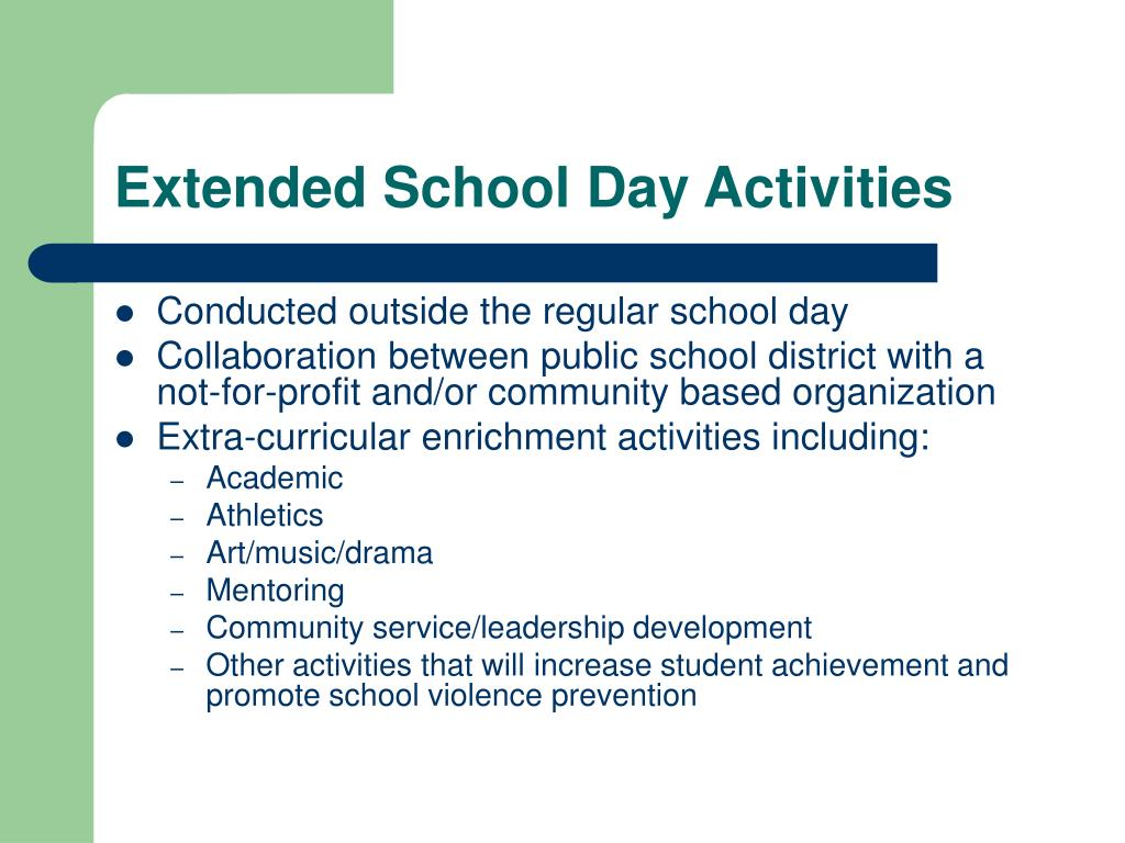 Extended School Day Activities