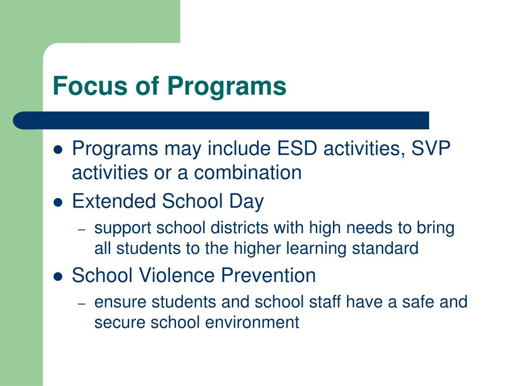 Focus of Programs