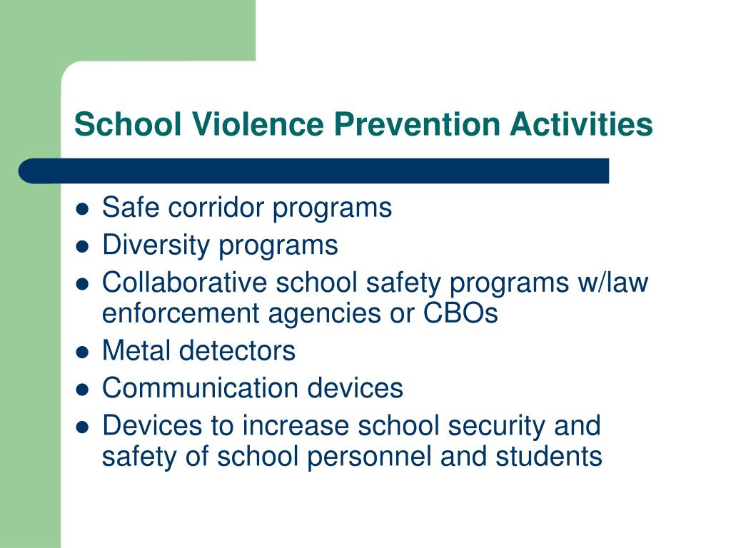 School Violence Prevention Activities