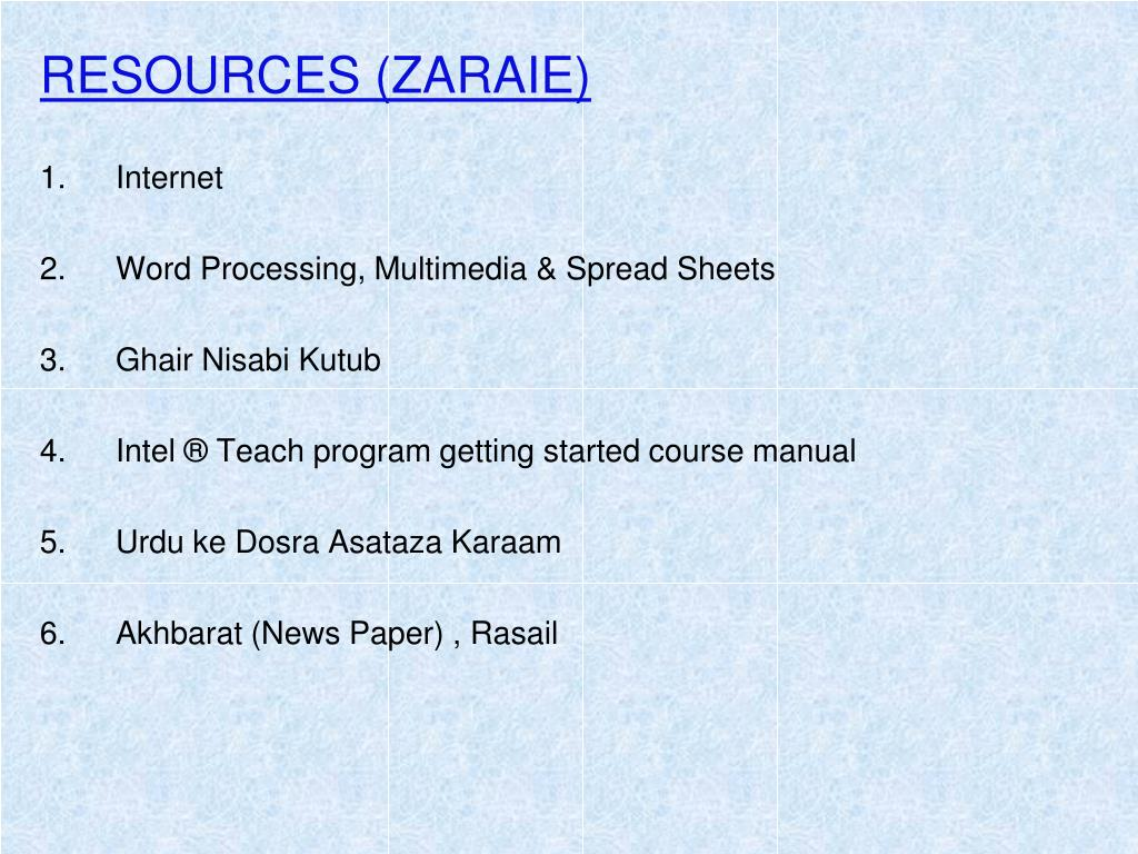RESOURCES (ZARAIE)