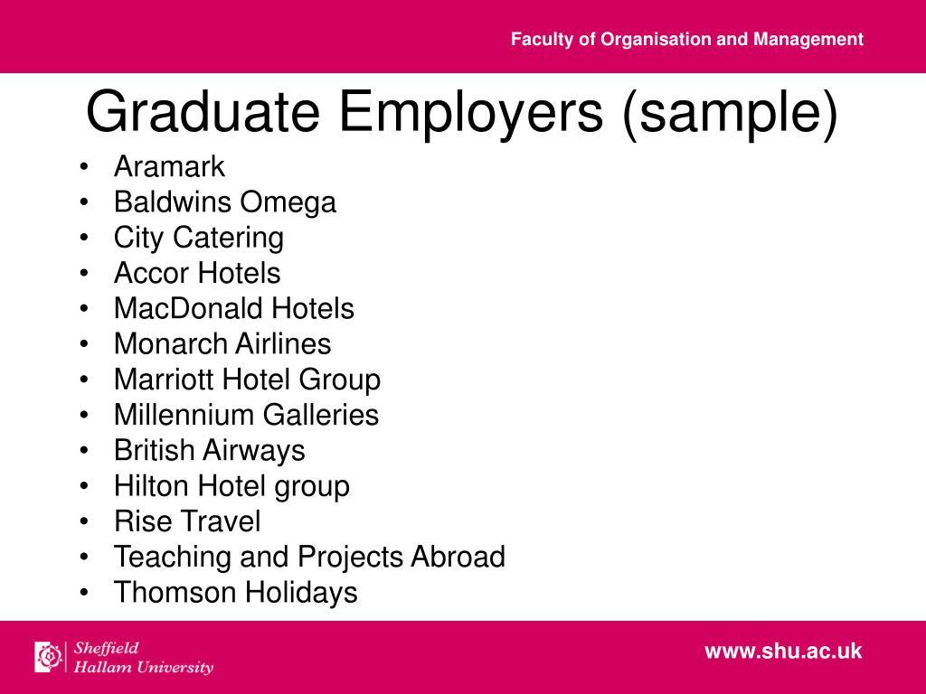 Graduate Employers (sample)