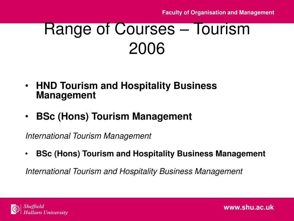 Range of Courses – Tourism 2006