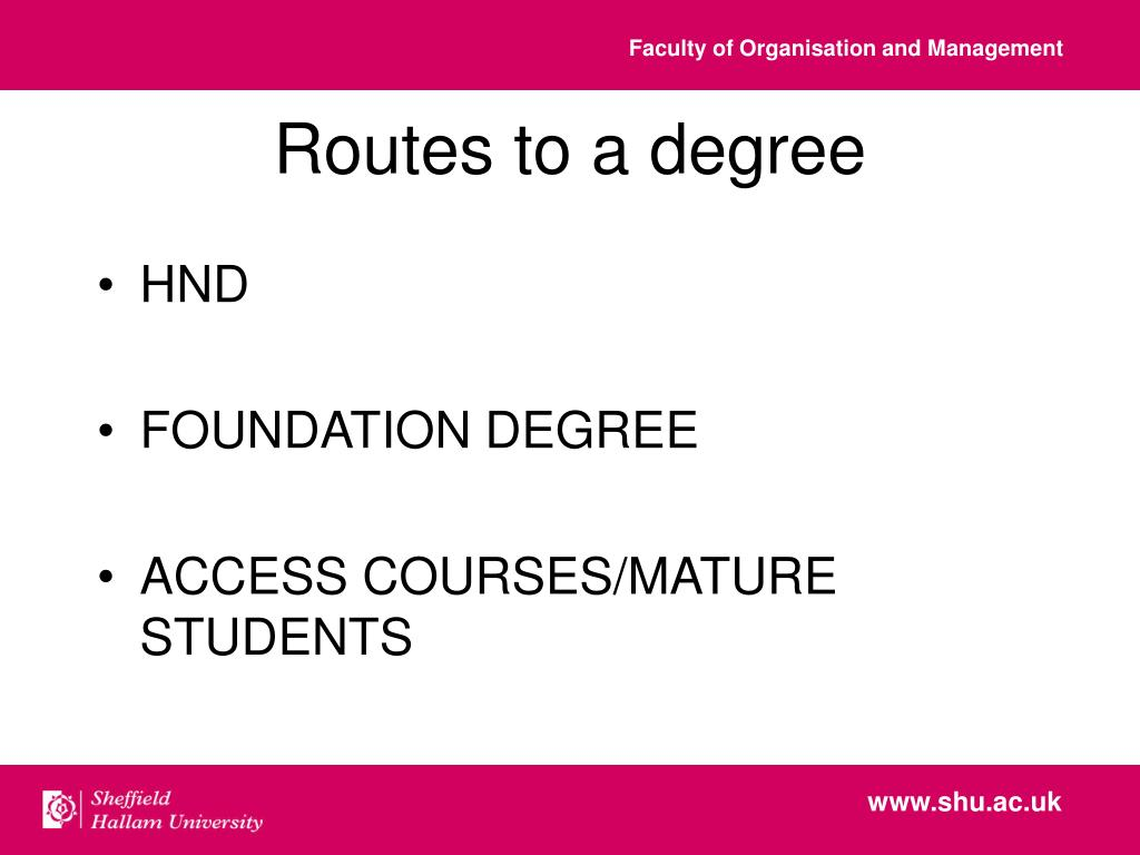 Routes to a degree