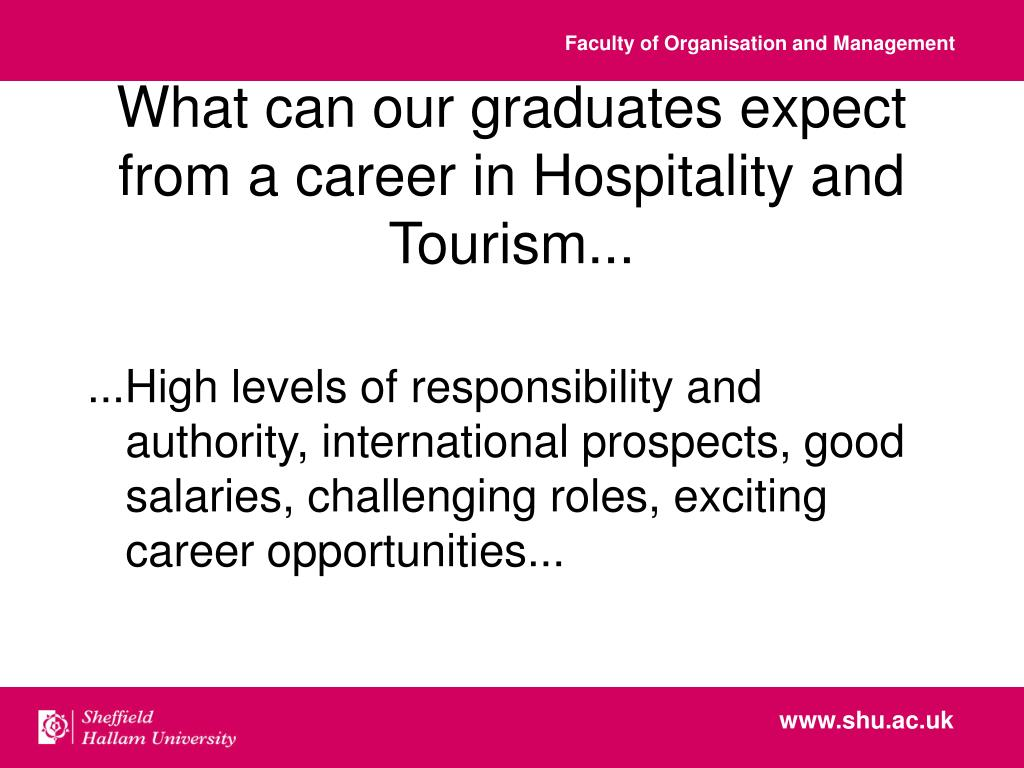What can our graduates expect  from a career in Hospitality and Tourism...