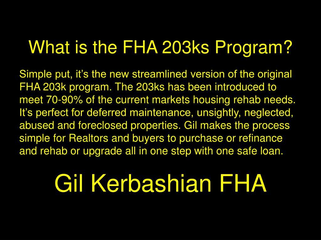What is the FHA 203ks Program?