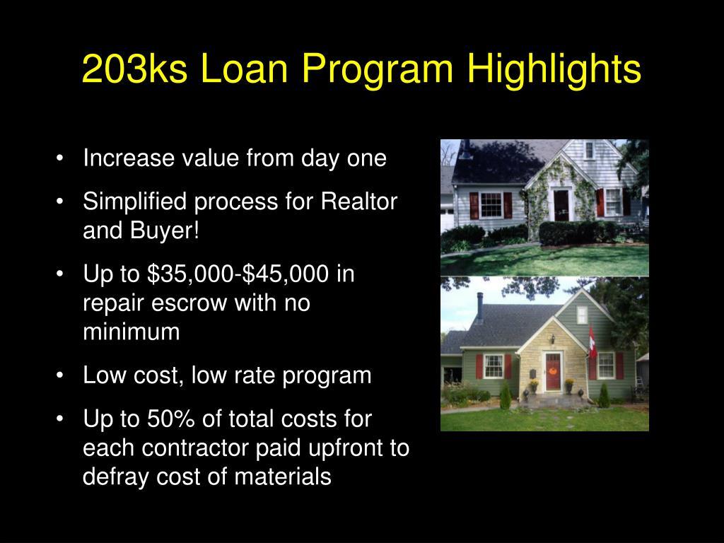 203ks Loan Program Highlights
